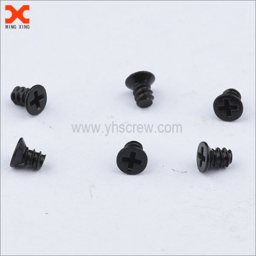 Black zinc flat head phillips machine screws
