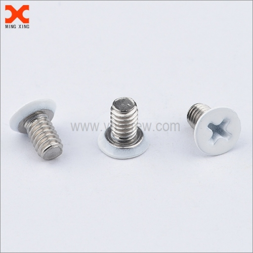white painted cross recessed flat head machine screws
