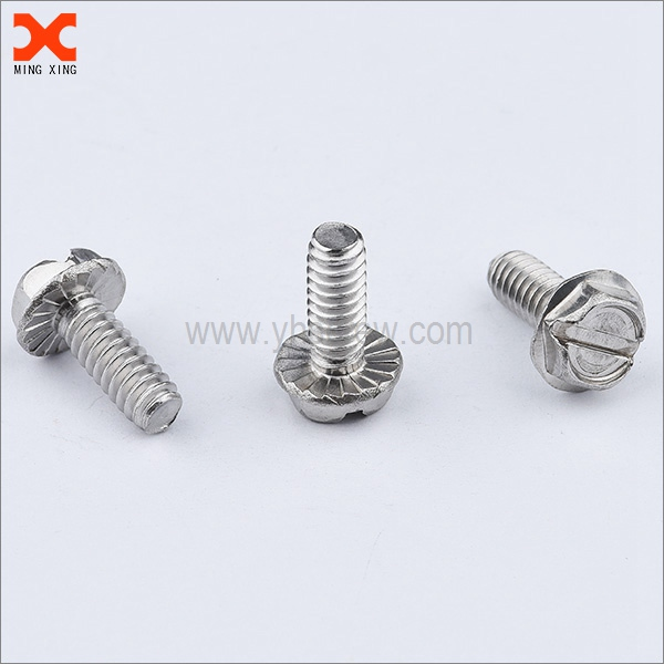 slotted hex flange head screws with serration