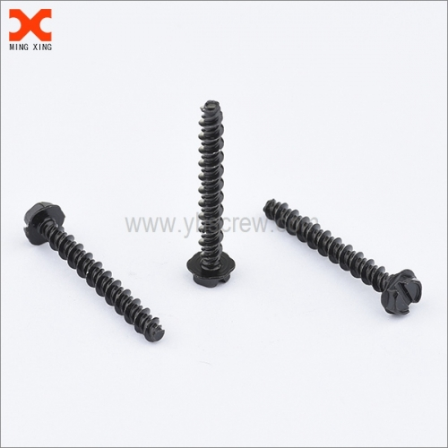 indented hex washer head slotted drive thread cutting screws