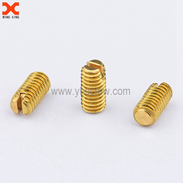 Flat point slotted drive brass set screws supply | Set