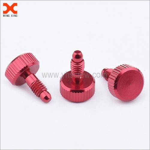 Captive panel screw thumb screw Al anodized red colour