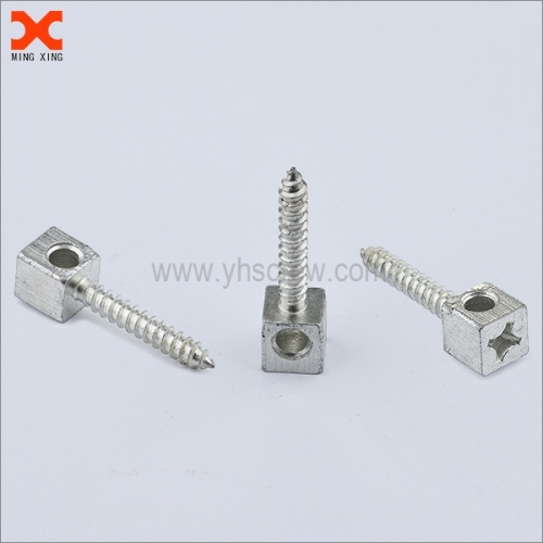 Cable tie screw square head phillip drive with holes , cable die screw .is used in conjunction with a cable to help sesure parts .