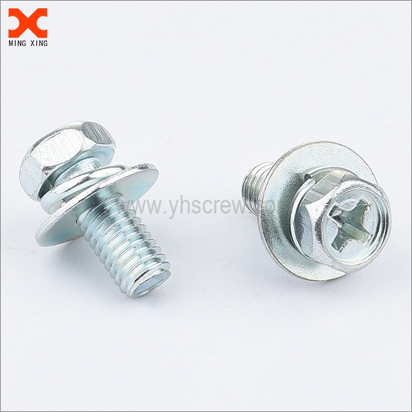 Combination indented hex phillips screw with big washer